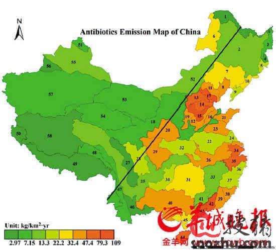 中国首个抗生素污染地图
